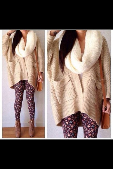 cream white scarf infinity scarf oversized cardigan cardigan cream cardigan jacket scarf bag pants white sweater all cute outfits