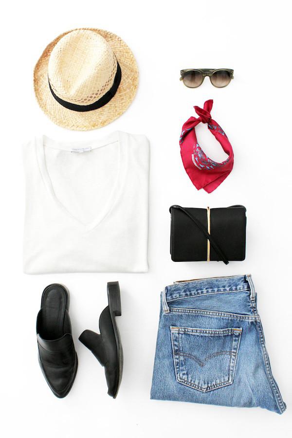 lefashion blogger hat sunglasses t-shirt scarf bag jeans shoes