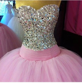 sparkly pink dress rhinestones prom dress