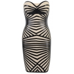 Clothing : Bandage Dresses : 'Aysha' Black Leatherette & Bandage Strapless Dress