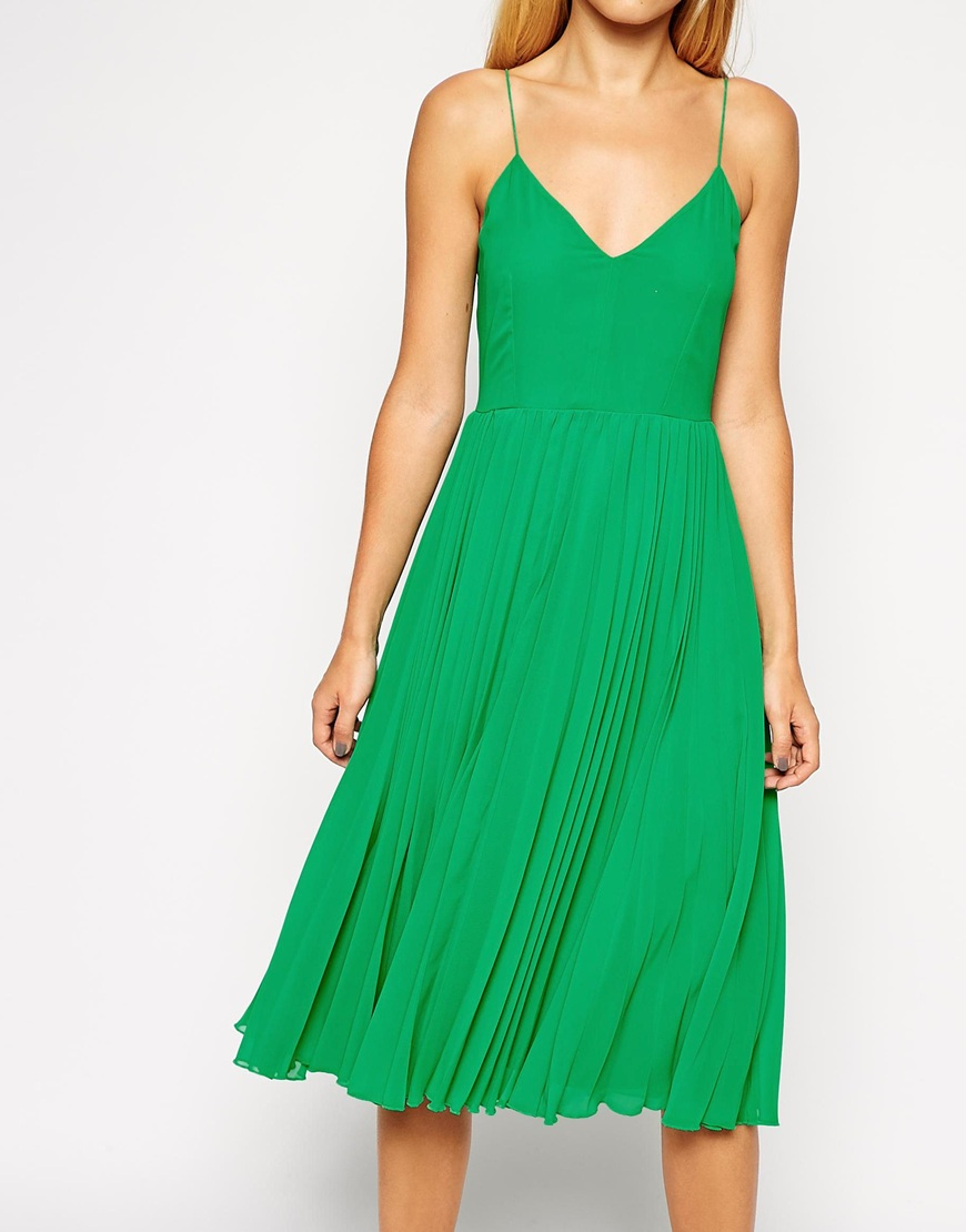 ASOS Cami Pleated Midi Dress at asos.com