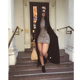 dress rihanna gray dress coat sunglasses