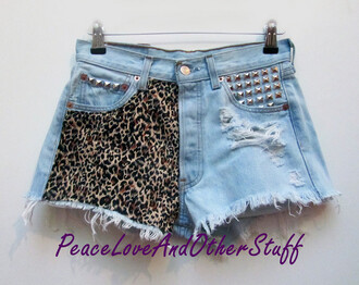 shorts distressed denim shorts studs leopard print tumblr