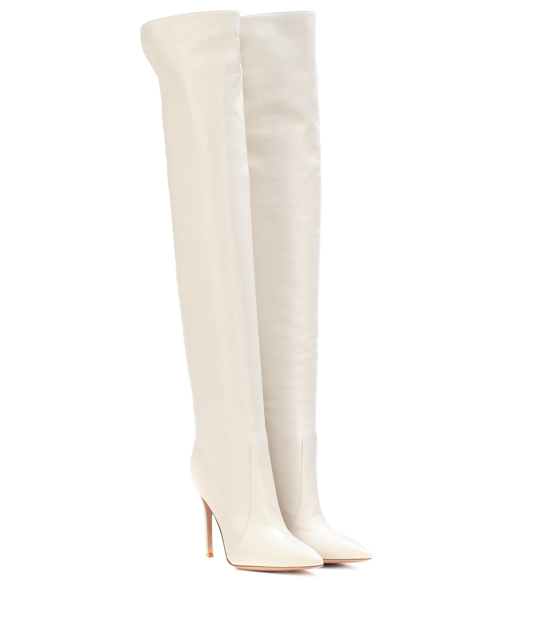 Gianvito Rossi - White Rennes Leather Over-the-knee Boots - Lyst
