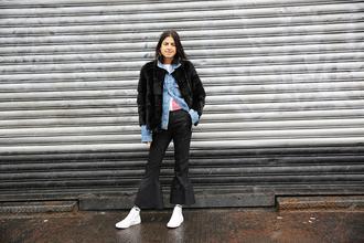 man repeller blogger coat jacket cardigan pants shoes