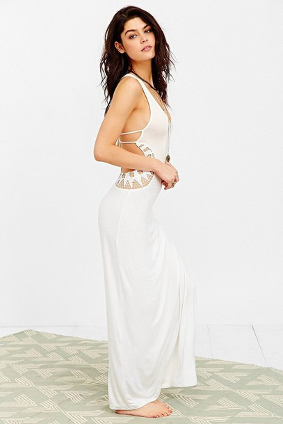 dress white dress white maxi dress urban outfitters cut-out dress summer dress