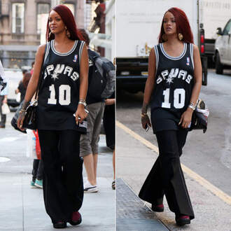 pants top rihanna champion wide-leg pants jersey black tank top