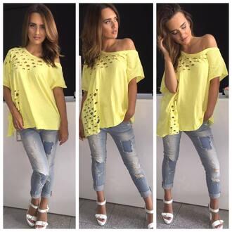 shirt yellow yellow top yellow shirt holes holes in shirt short sleeve