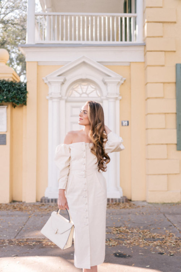 gal meets glam blogger dress bag shoes white dress off the shoulder dress button up dress