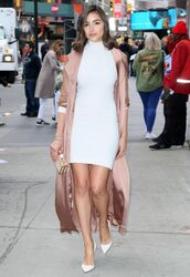 dress,mini dress,white,white dress,coat,duster coat,olivia culpo,bodycon dress,pumps,spring outfits