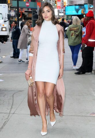 dress mini dress white white dress coat duster coat olivia culpo bodycon dress pumps spring outfits
