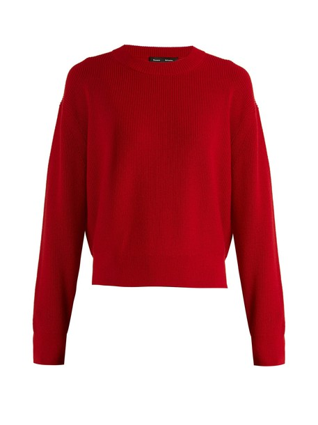 Proenza Schouler sweater zip wool knit dark dark red red