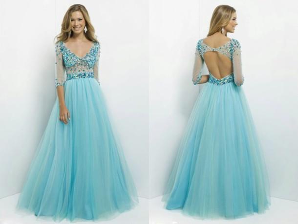 Dress: blue dress, prom dress, tumblr, evening dress, ball gown ...