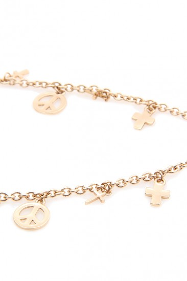 OMG Cross and Peace Leg Chain - Gold