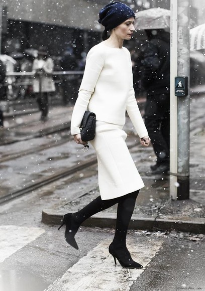 sartorialist skirt winter white new york