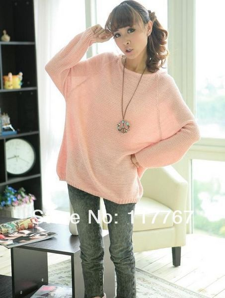 Fashion new ladies batwing o  neck knitted pullover jumper casual loose long sweater  650461 650464
