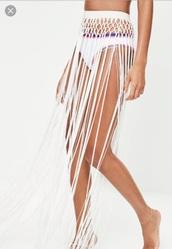 skirt,white,tassel,maxi,white tassel,maxi skirt,hippie
