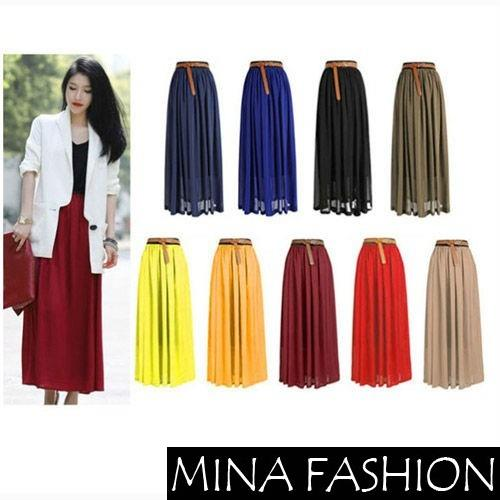 Hot Retro Double Layer Chiffon Pleated Elastic Waist Maxi Skirt 3798890 HOT-in Skirts from Apparel & Accessories on Aliexpress.com