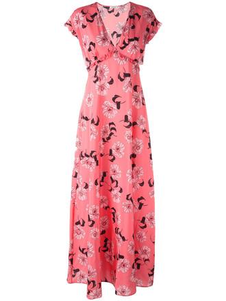 dress print dress women spandex floral print silk purple pink