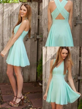 Blue Chiffon V-neck Short Prom Dress, Homecoming Dress [D0097] - $99.99 : 24inshop
