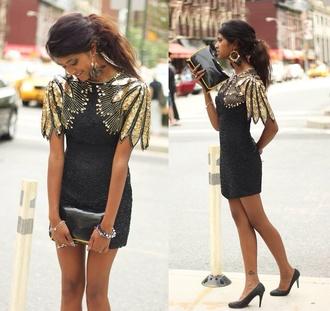 dress little black dress black prom dress sequin dress gold gold sequins