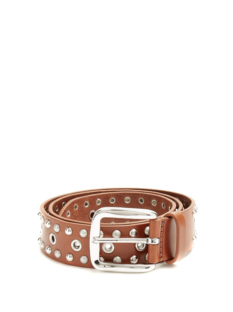 studded belt leather brown