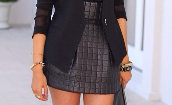 jacket mesh black skirt leather coat quilted quilted leather quilted skirt mesh jacket leather, quilted