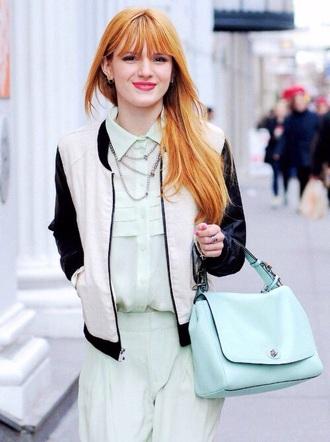 jacket celebrity celebrity style bomber jacket style tumblr clothes clothes hipster clothes fashion white jacket black jacket bella thorne