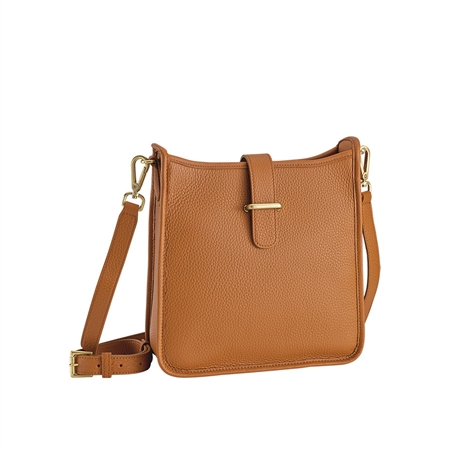 Saddle Elle Cross-body | Pebble Grain  Leather | GiGi New York