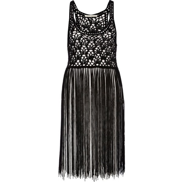 River Island Black crochet tassel top - Polyvore