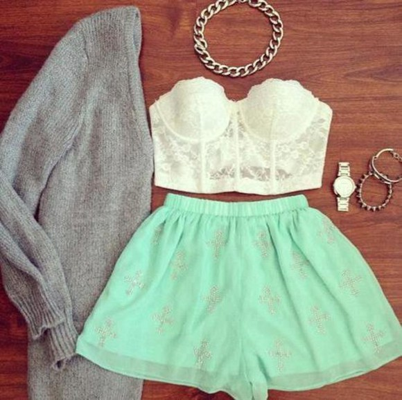cardigan shirt grey cardigan watch mint mint shorts lace top lace bustier bralette gold gold necklace chain