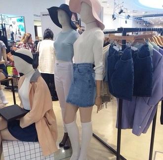 sweater american apparel pale denim hat jumper coat skirt pale tumblr home accessory