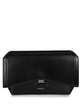 leather clutch bow clutch leather black bag