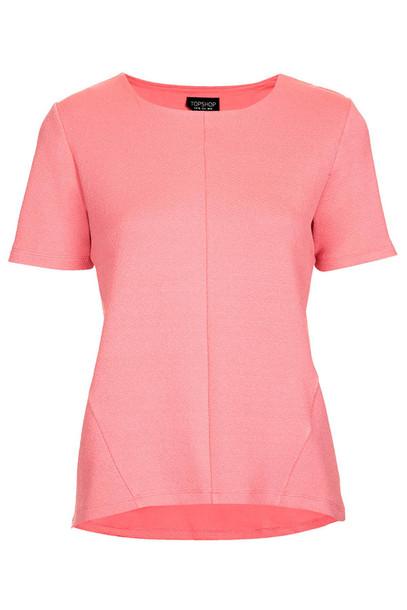 t-shirt crepe curve hem tee topshop crepe hem t-shirt pink