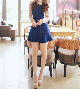 dress peter pan collar colorblock beige navy mini dress
