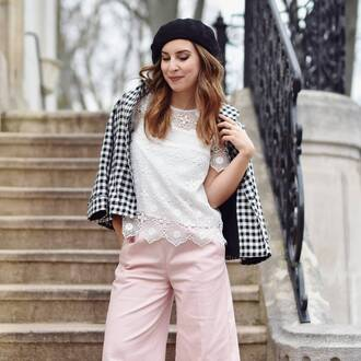 top french girl white top lace top pants pink pants jacket gingham hat beret