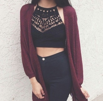 top black crop tops aztec t-shirt cardigan high neck pants