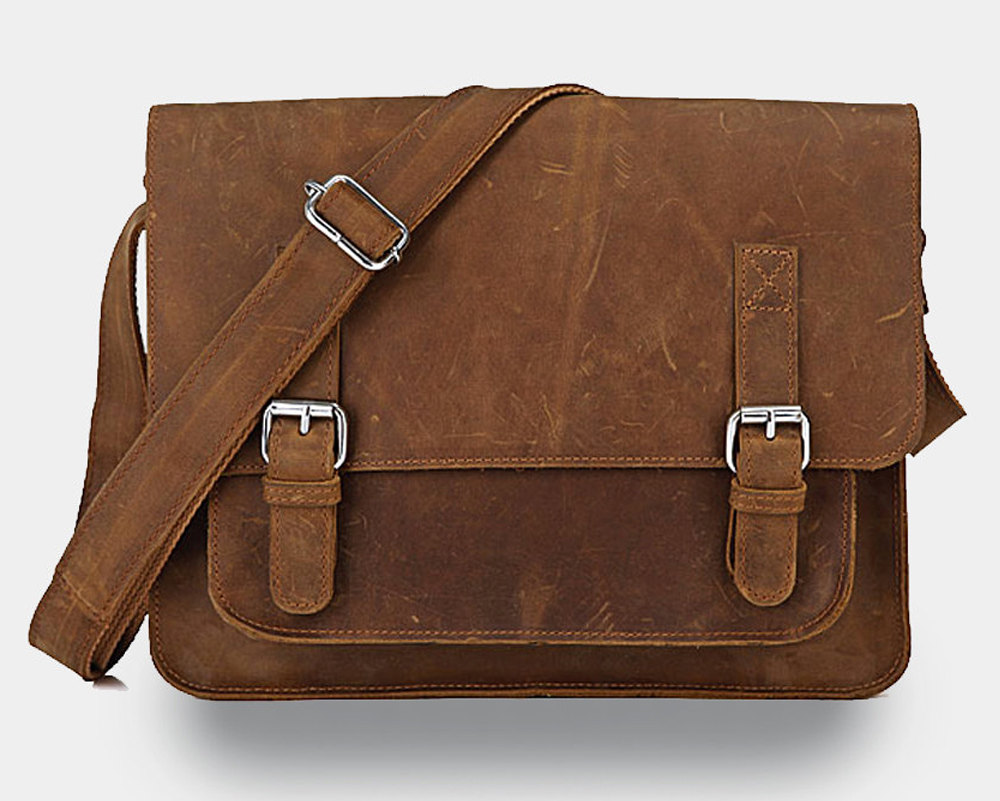 Rugged Genuine Leather Messenger - Briefcase - Leather Laptop - Men's Bag In Brown--Y27 on Luulla