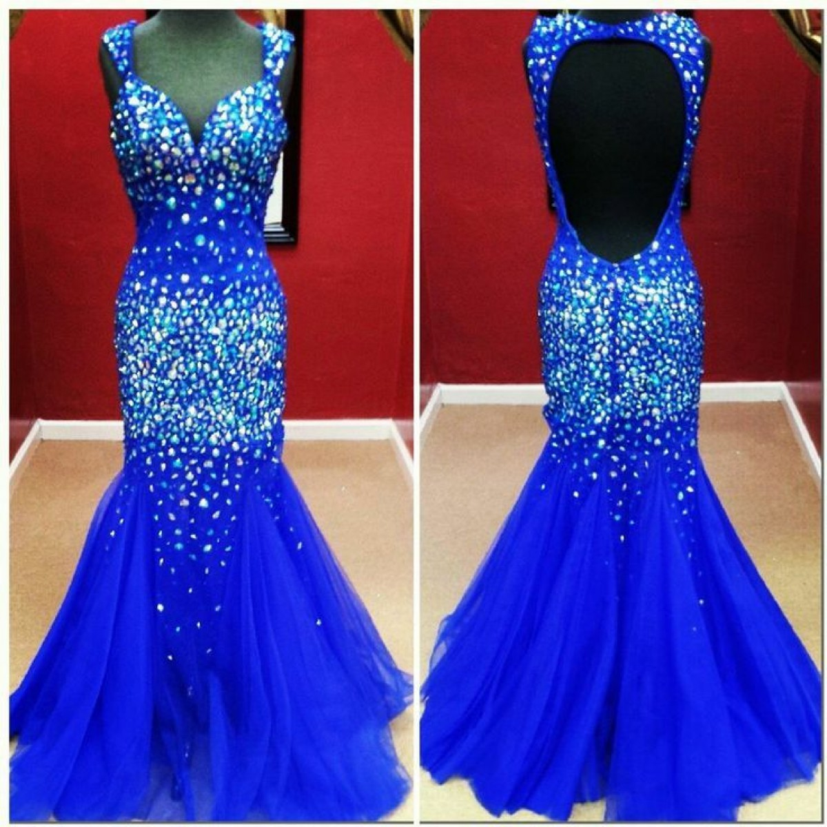 Sexy Mermaid Sweetheart Straps Beading Open Back Royal Blue Prom