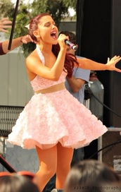 dress,pink,ariana grande,bustier,rose,girly,clothes,skirt,two-piece,3d,ariana grande dress