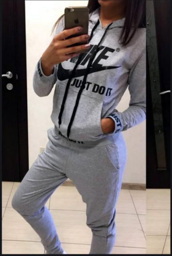 7587451b04 top, nike, nike sweatpants, nike sweatshirt, nike sweatpsnts, sweatpants,  grey, grey, just do it, nike logo, nike logo sweats, nike logo sportswear,  ...