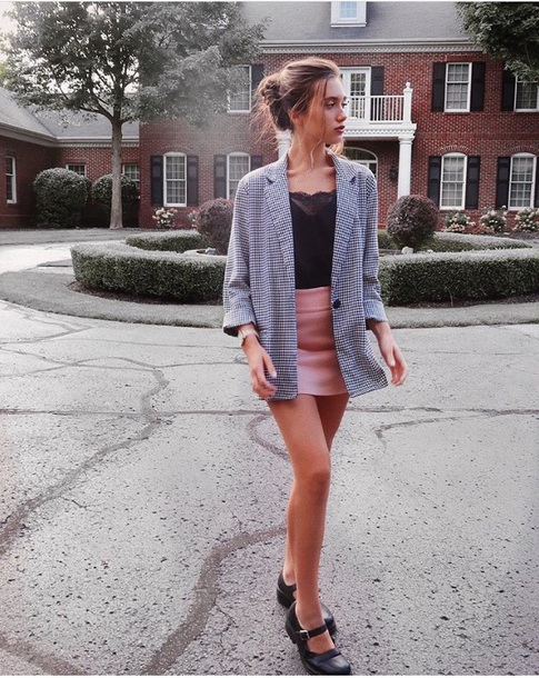 jacket hannah me loche tumblr outfit blazer skirt dusty pink clueless clueless inspired
