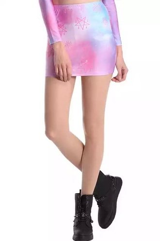 skirt pastel goth tight skirt galaxy skirt pink skirt