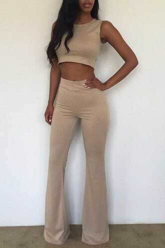 jumpsuit sleeveless crop tops high neck high waisted two-piece flare flare pants classy cream summer summer outfits casual vintage office outfits sexy
