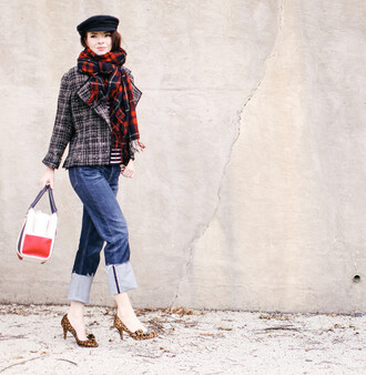 sea of shoes blogger jeans scarf hat shoes