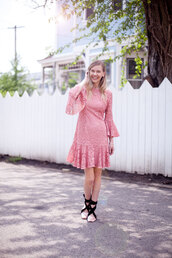 cocorosa,blogger,dress,bell sleeve dress,pink dress,lace dress,spring outfits,shoes,ballet flats