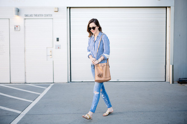 side smile style blogger shirt jeans bag shoes jewels sunglasses