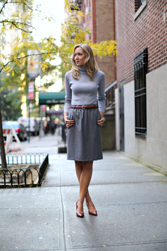 the classy cubicle skirt sweater belt shoes jewels top grey turtleneck top tumblr turtleneck grey top grey skirt midi skirt pumps pointed toe pumps high heel pumps brown shoes work outfits office outfits
