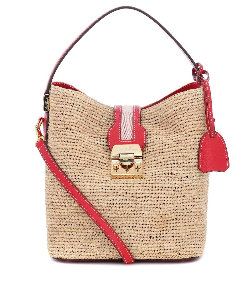 Murphy leather and raffia bag
