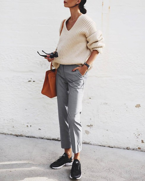 sweater tumblr white sweater v neck necklace gold necklace jewels jewelry pants grey pants sneakers black sneakers bag leather bag sunglasses office outfits work outfits